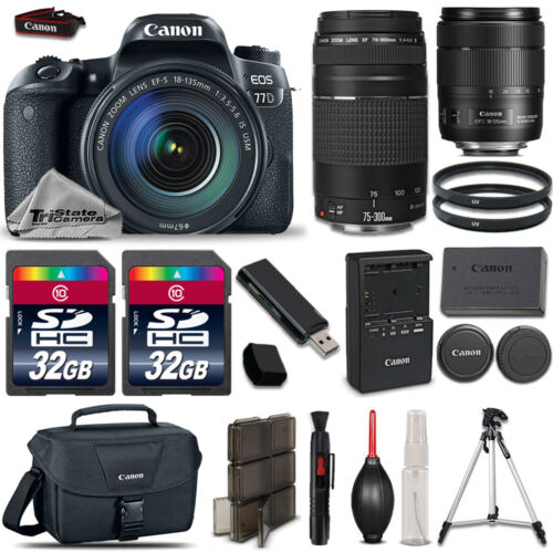 Canon EOS 77D DSLR Camera 1892C002 + 18-135mm USM + 75-300mm III + 64GB Bundle *FREE SHIPPING*