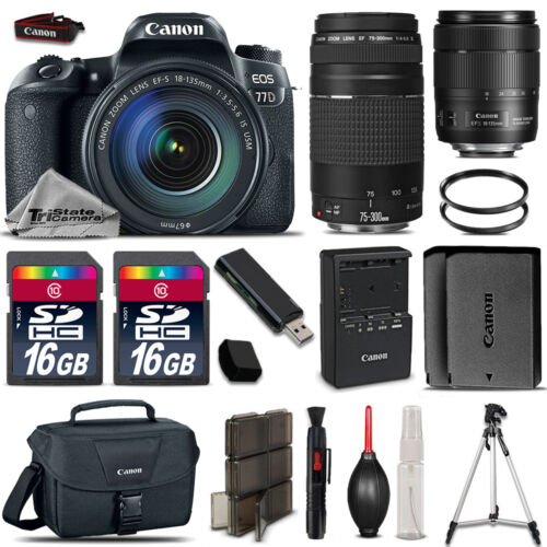 Canon EOS 77D DSLR Camera + 18-135mm USM  + 75-300mm III + Extra Battery + 32GB *FREE SHIPPING*
