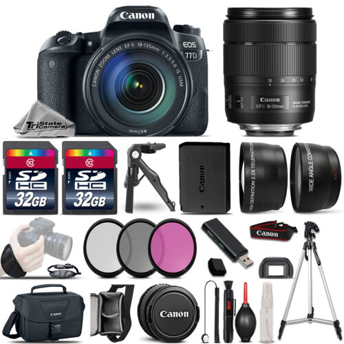 Canon EOS 77D DSLR Camera 1892C002 + 18-135mm USM -3 Lens Kit + 64GB & More! *FREE SHIPPING*
