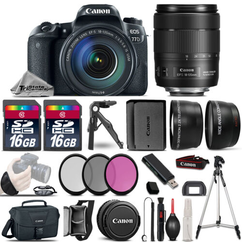 Canon EOS 77D DSLR Camera 1892C002 + 18-135mm USM - 3 Lens Kit + 32GB & More! *FREE SHIPPING*