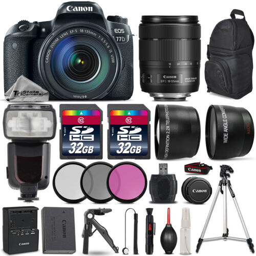 Canon EOS 77D DSLR Camera 1892C002 + 18-135mm USM + Flash + Tripod - 64GB Bundle *FREE SHIPPING*