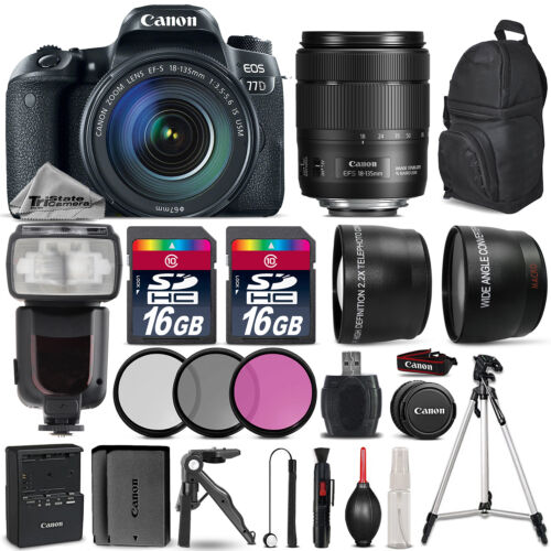 Canon EOS 77D DSLR Camera 1892C002 + 18-135mm USM + Flash + EXT BATT - 32GB Kit *FREE SHIPPING*