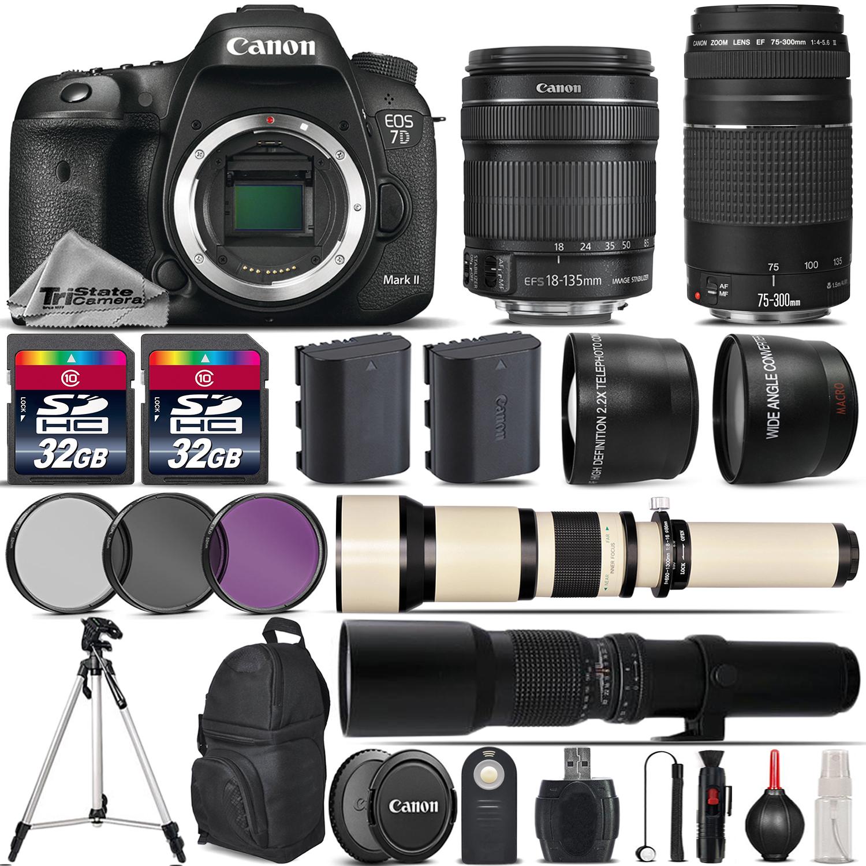 EOS 7D Mark II DSLR Camera + 18-135mm IS STM + 75-300mm Lens - 64GB Kit *FREE SHIPPING*