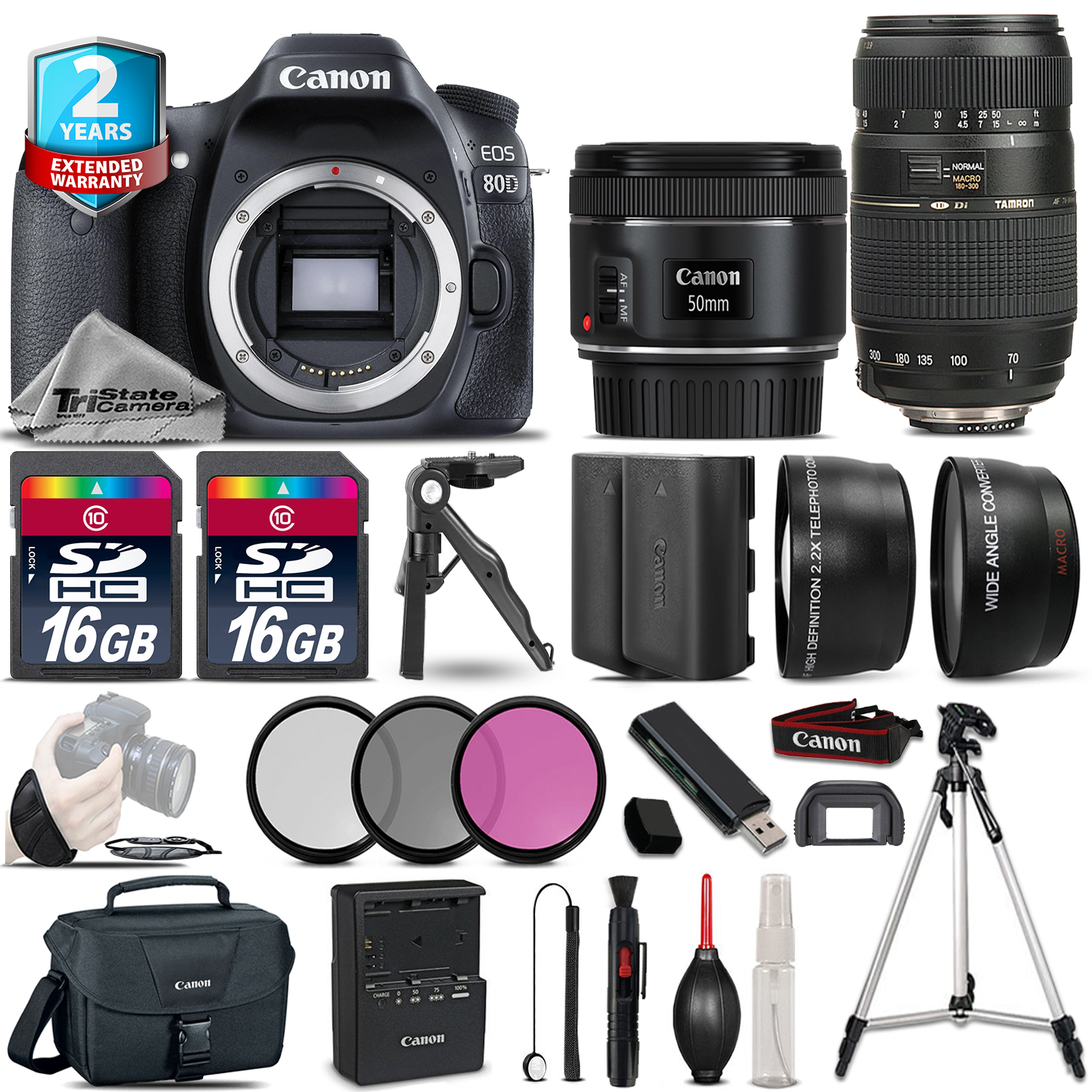 EOS 80D Camera + 50mm 1.8 STM & 70-300mm + Extra Battery + 2yr Warranty *FREE SHIPPING*