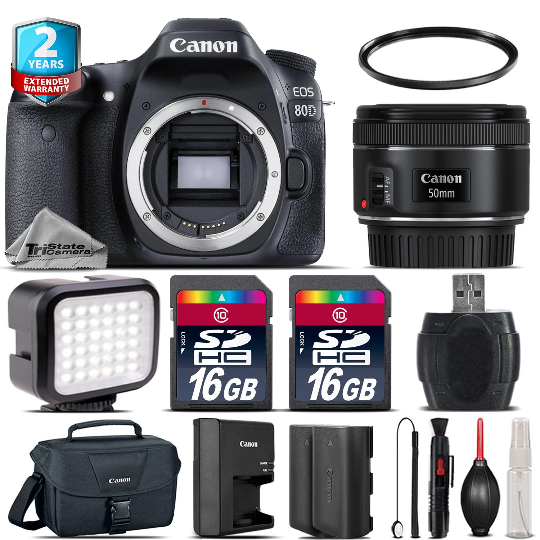 EOS  80D DSLR Camera + 50mm 1.8 + LED + CASE + EXT BAT +32GB +2yr Warranty *FREE SHIPPING*
