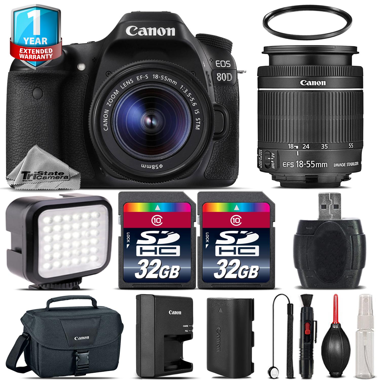 EOS 80D DSLR Camera + 18-55mm IS STM + LED + 64GB + 1yr Warranty -64GB Kit *FREE SHIPPING*