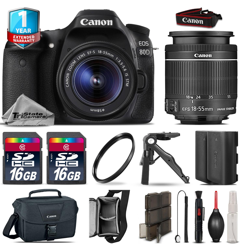 EOS 80D DSLR Camera + 18-55mm IS STM + EXT BATT + UV + 32GB + 1yr Warranty *FREE SHIPPING*