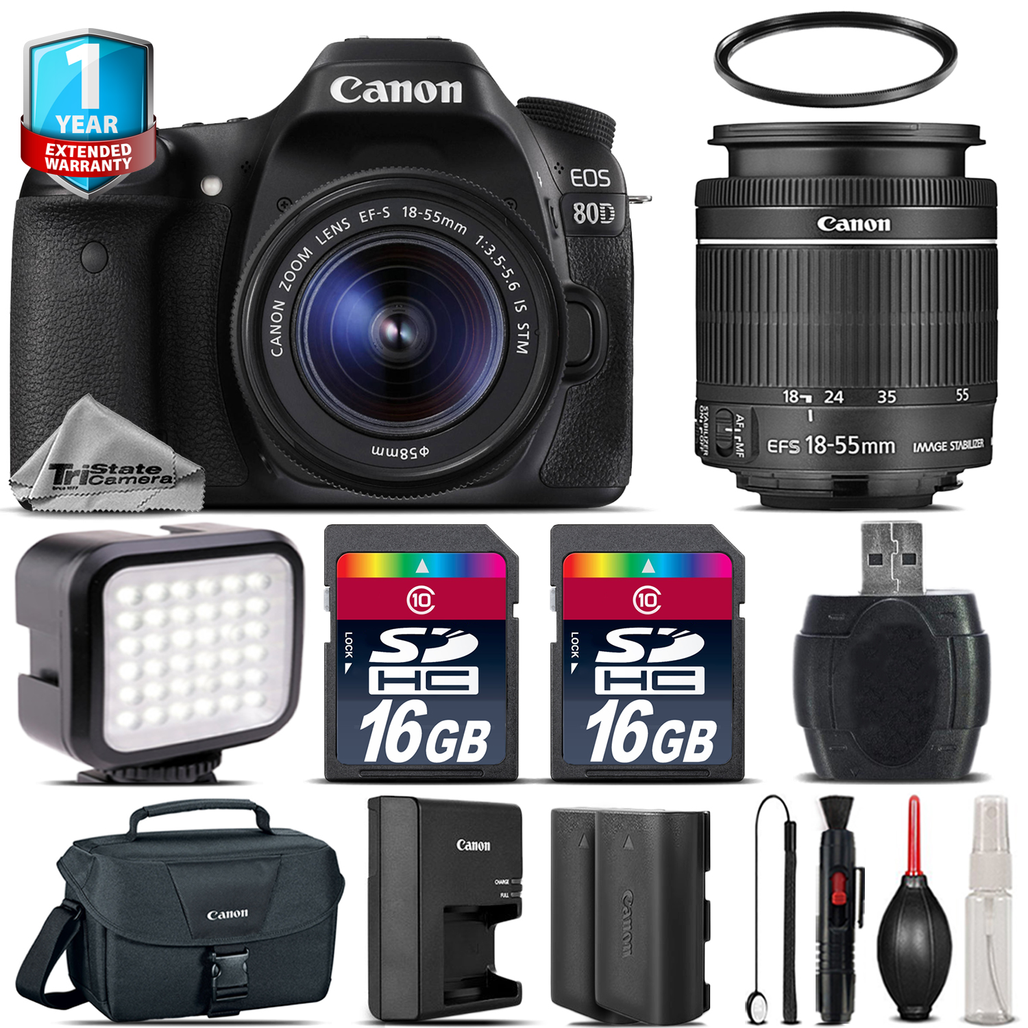 EOS 80D DSLR Camera + 18-55mm + LED + Extra Battery + 32GB + 1yr Warranty *FREE SHIPPING*