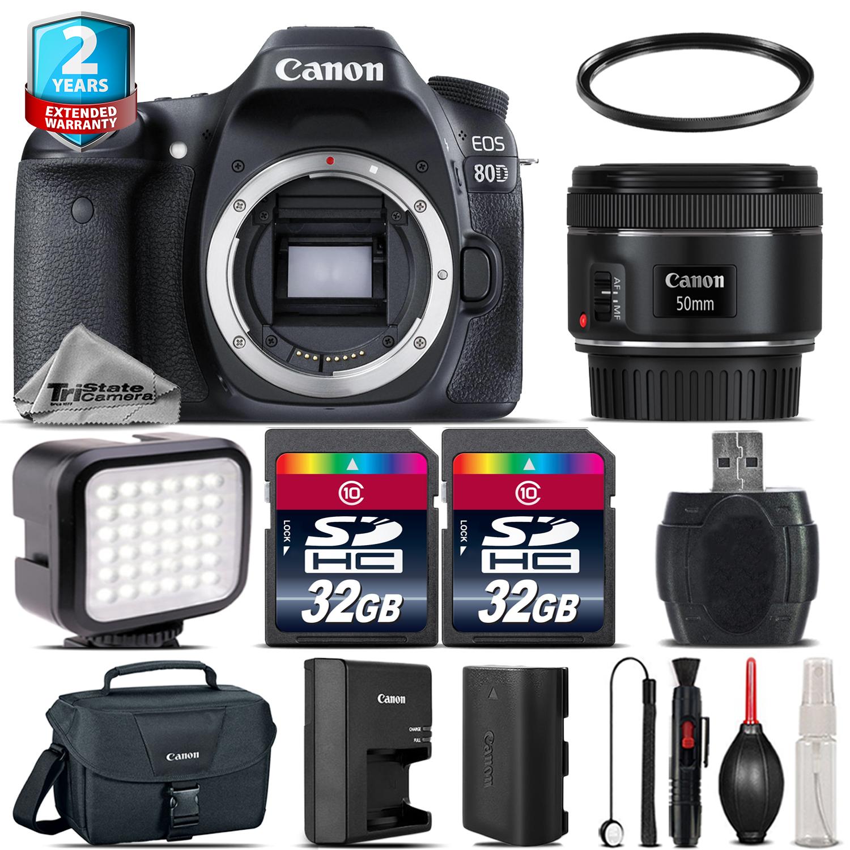 EOS 80D DSLR Camera + 50mm 1.8 STM + LED Light + Case + 64GB +2yr Warranty *FREE SHIPPING*
