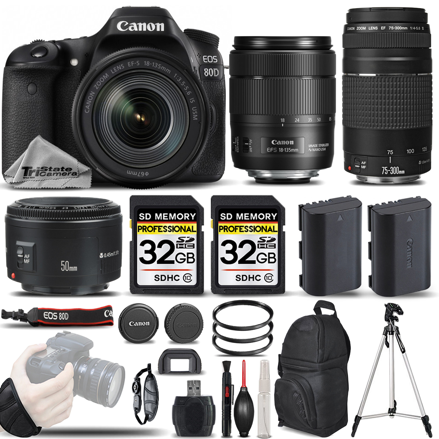 EOS 80D DSLR Camera with 18-135mm USM + 75-300 III + 50mm 1.8 -64GB Bundle *FREE SHIPPING*