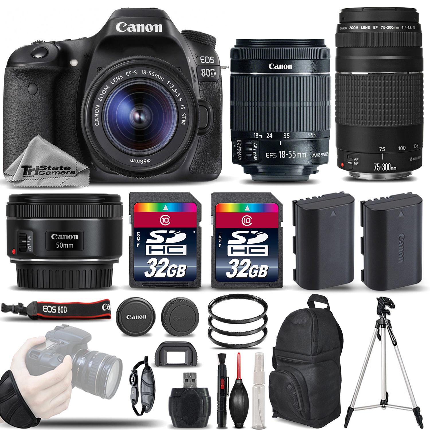 EOS 80D DSLR Camera with 18-55mm STM Lens + 75-300 III + 50mm 1.8 + 64GB *FREE SHIPPING*