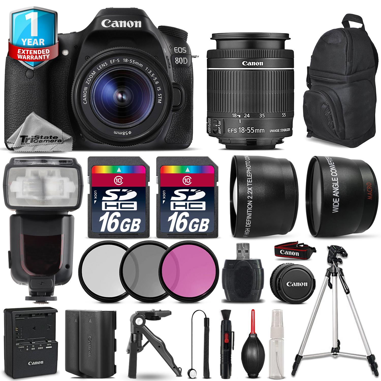 EOS 80D DSLR Camera + 18-55mm IS + Flash + EXT BAT + 1yr Warranty + 32GB *FREE SHIPPING*