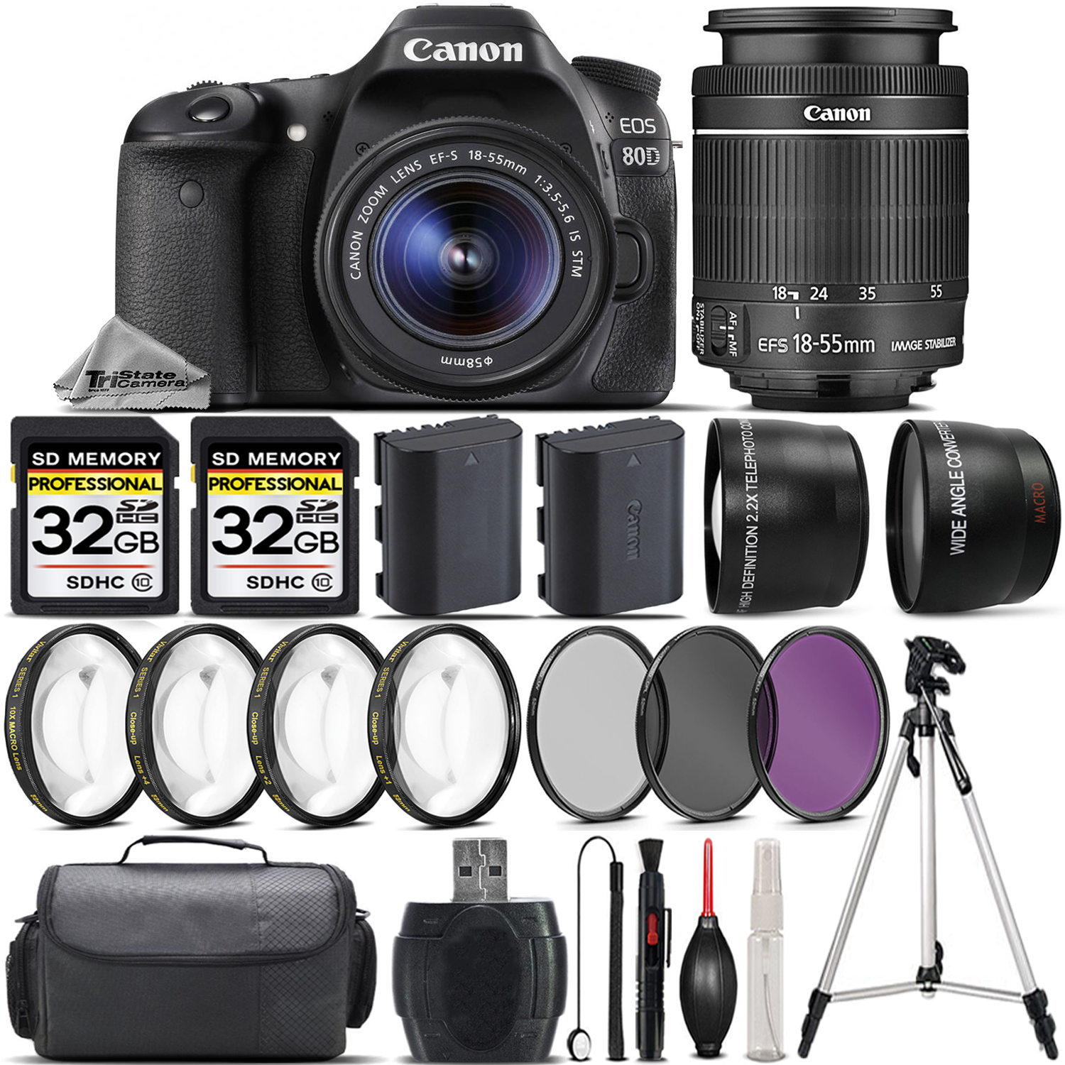 EOS 80D DSLR Camera + 18-55mm STM +EXT BAT + 4PC Macro Kit + 64GB Bundle *FREE SHIPPING*