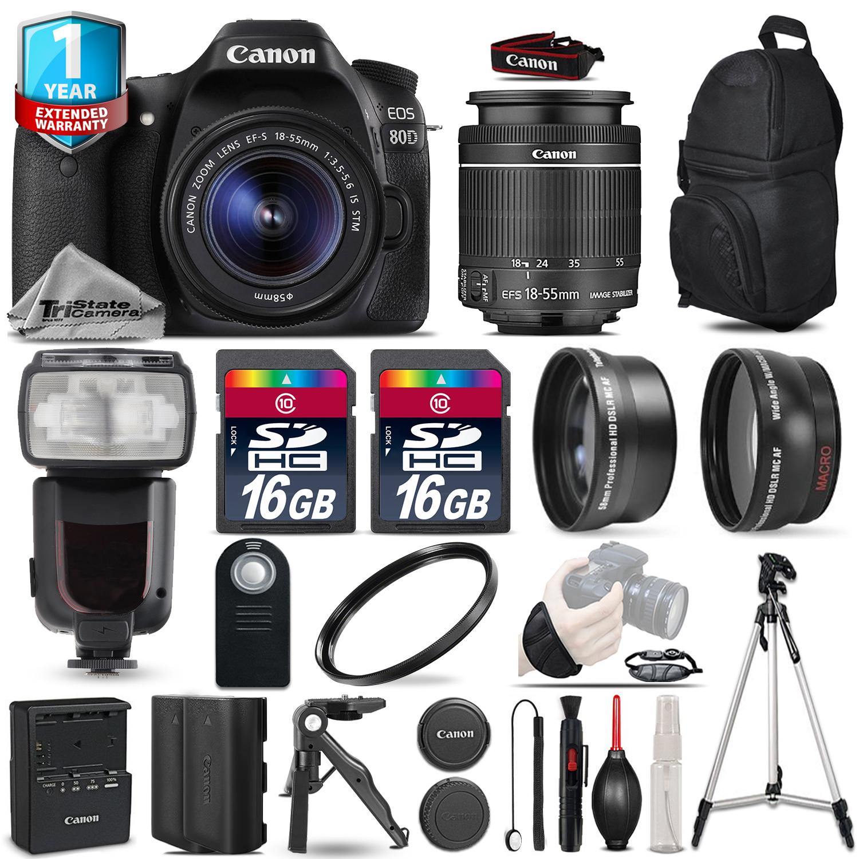 EOS 80D DSLR Camera + 18-55mm IS + Flash + 32GB + EXT BATT + 1yr Warranty *FREE SHIPPING*