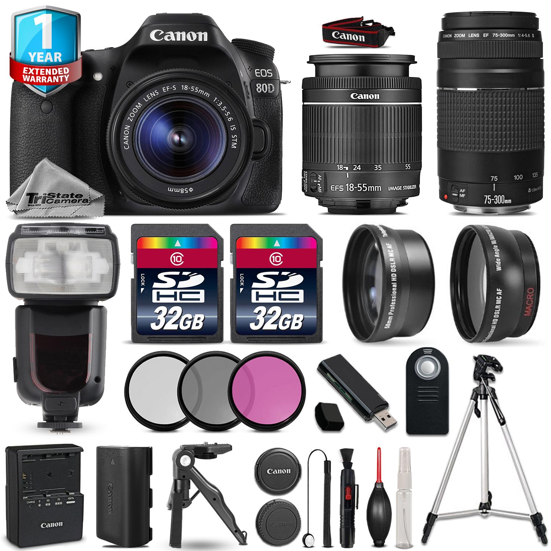 EOS 80D DSLR Camera + 18-55mm IS + 75-300mm + 64GB + Flash + 1yr Warranty *FREE SHIPPING*