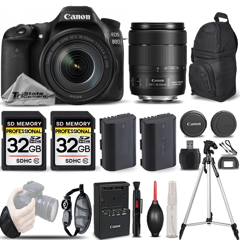 EOS 80D DSLR Camera with 18-135mm USM Lens +WRIST GRIP +EXT BATT -64GB KIT *FREE SHIPPING*