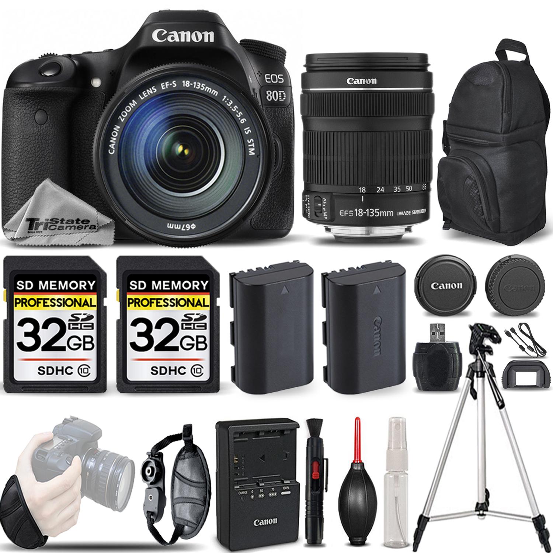 EOS 80D DSLR Camera with 18-135mm STM Lens +WRIST GRIP +EXT BATT -64GB KIT *FREE SHIPPING*