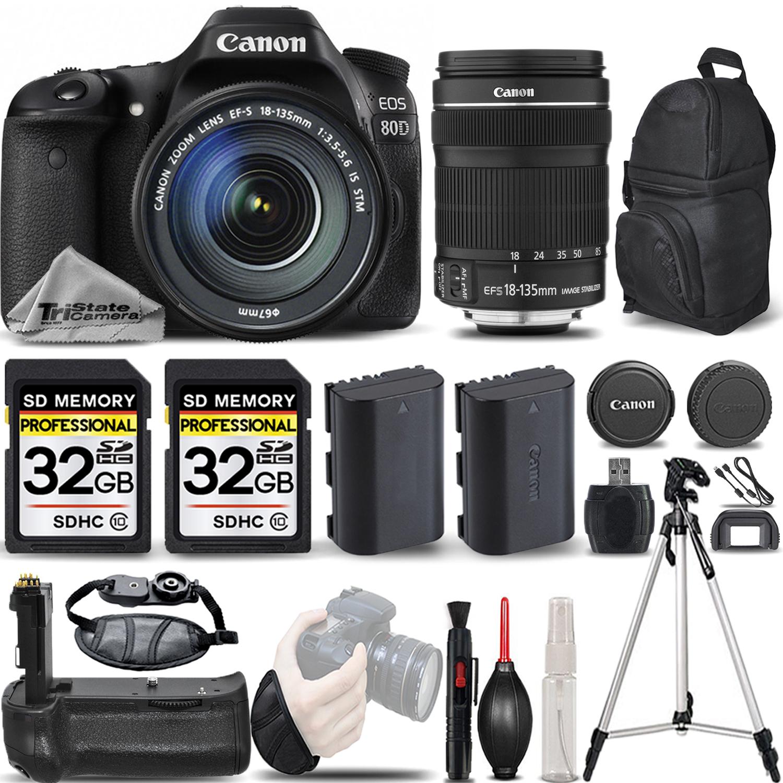 EOS 80D DSLR Camera with 18-135mm IS STM Lens +BATT GRIP +EXT BATT +64GB *FREE SHIPPING*