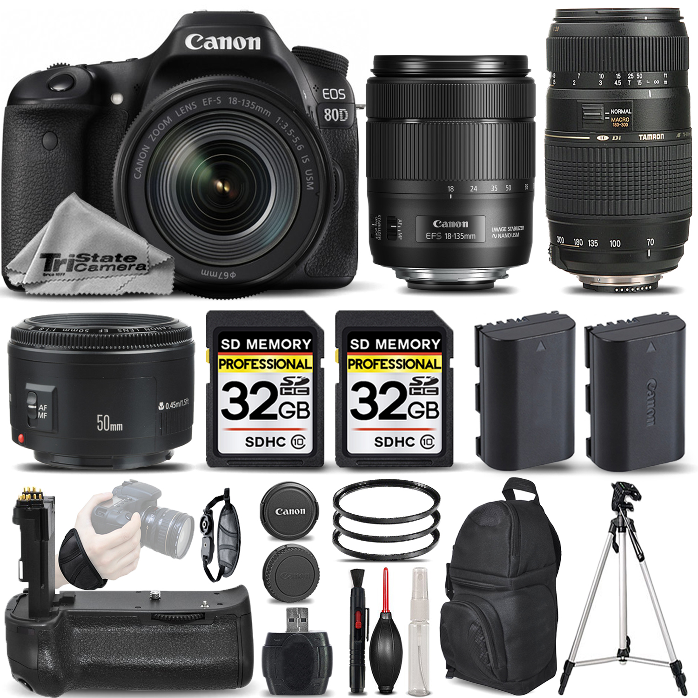 EOS 80D DSLR Camera with 18-135mm Lens + 50mm 1.8 + 70-300mm + BATT GRIP *FREE SHIPPING*