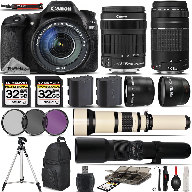 EOS 80D Digital SLR Camera + 18-135mm IS + 75-300mm III Lens - 64GB Kit *FREE SHIPPING*