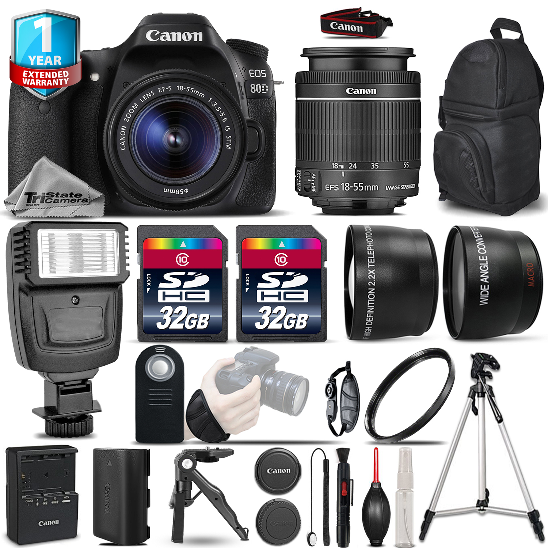 EOS 80D DSLR Camera + 18-55mm IS - 3 Lens Kit + Flash + 64GB +1yr Warranty *FREE SHIPPING*
