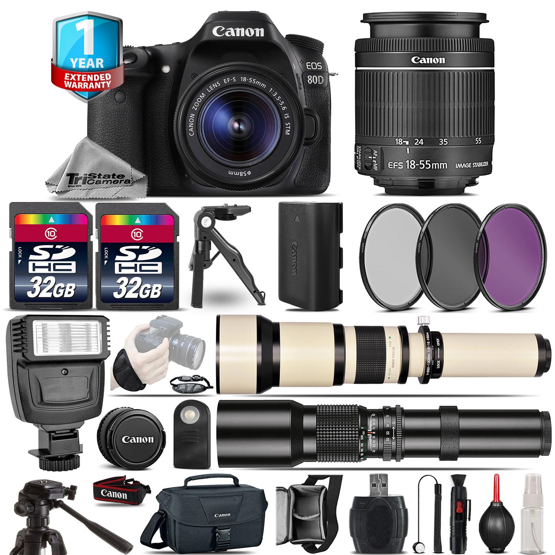 EOS 80D DSLR Camera + 18-55mm IS + 650-1300mm + 500mm +1yr Warranty + 64GB *FREE SHIPPING*
