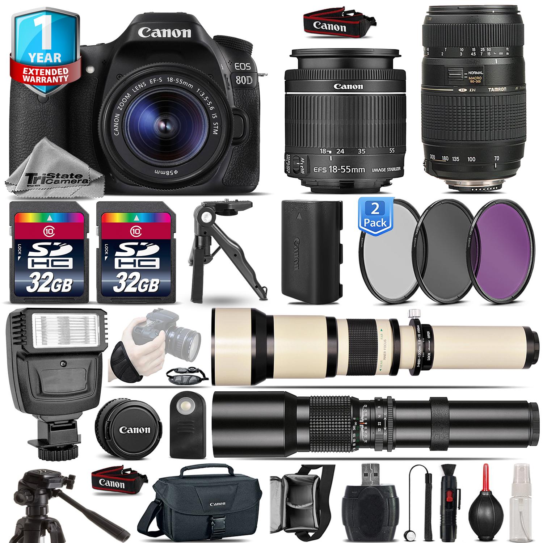 EOS 80D DSLR Camera + 18-55mm IS STM + 70-300mm + 1yr Warranty - 64GB Kit *FREE SHIPPING*