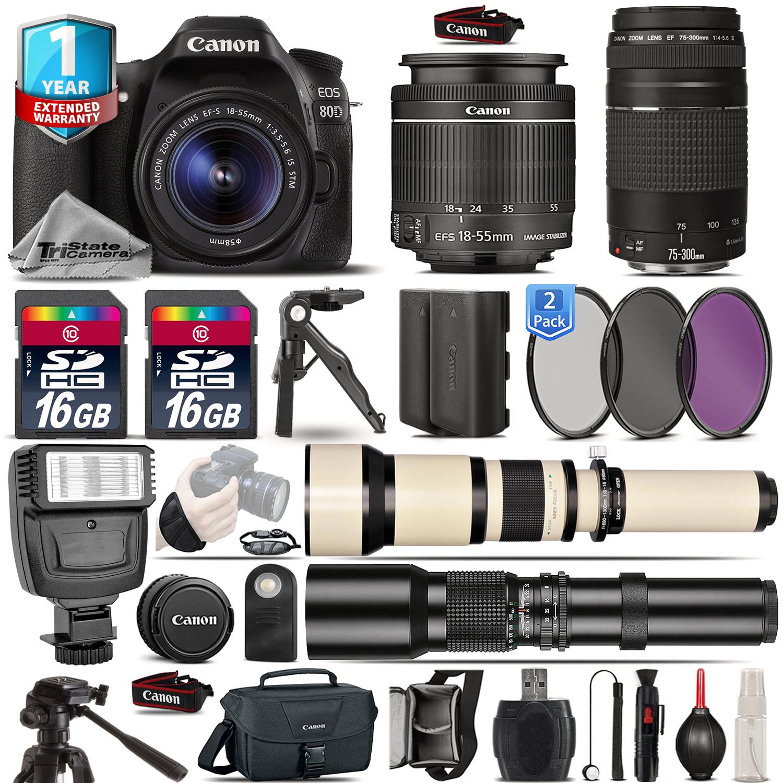EOS 80D DSLR Camera + 18-55mm IS + 75-300mm III + EXT BATT + 1yr Warranty *FREE SHIPPING*