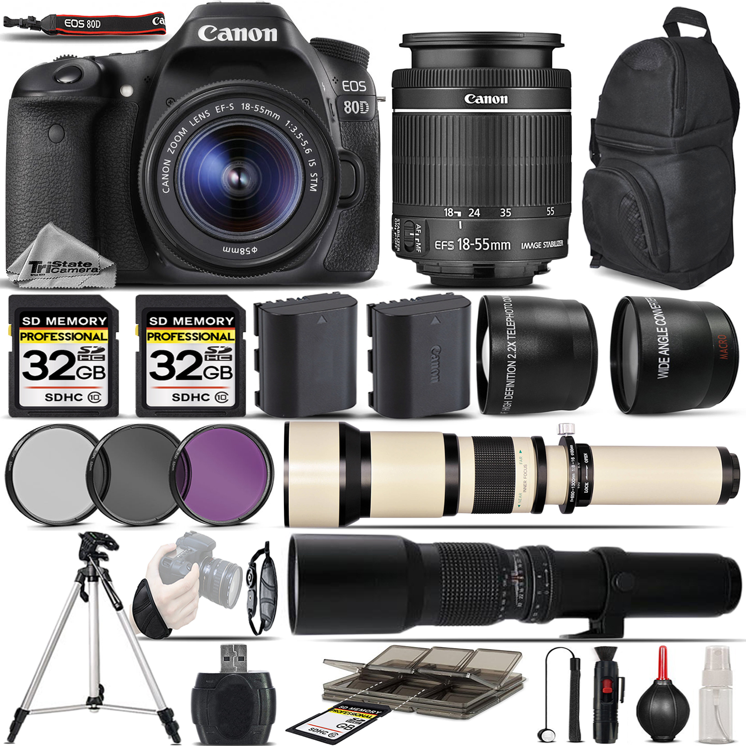 EOS 80D Digital SLR with Wi-Fi NFC Camera + 18-55 STM + 650-1300mm + 500mm *FREE SHIPPING*
