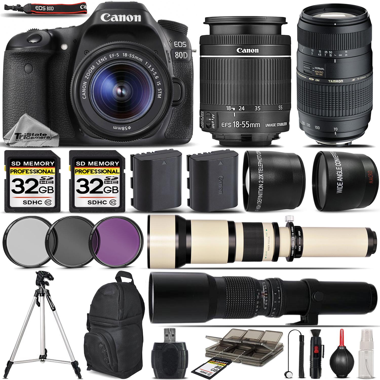 EOS 80D Digital SLR Camera + 18-55mm + 70-300mm Lens - 64GB Kit Bundle *FREE SHIPPING*
