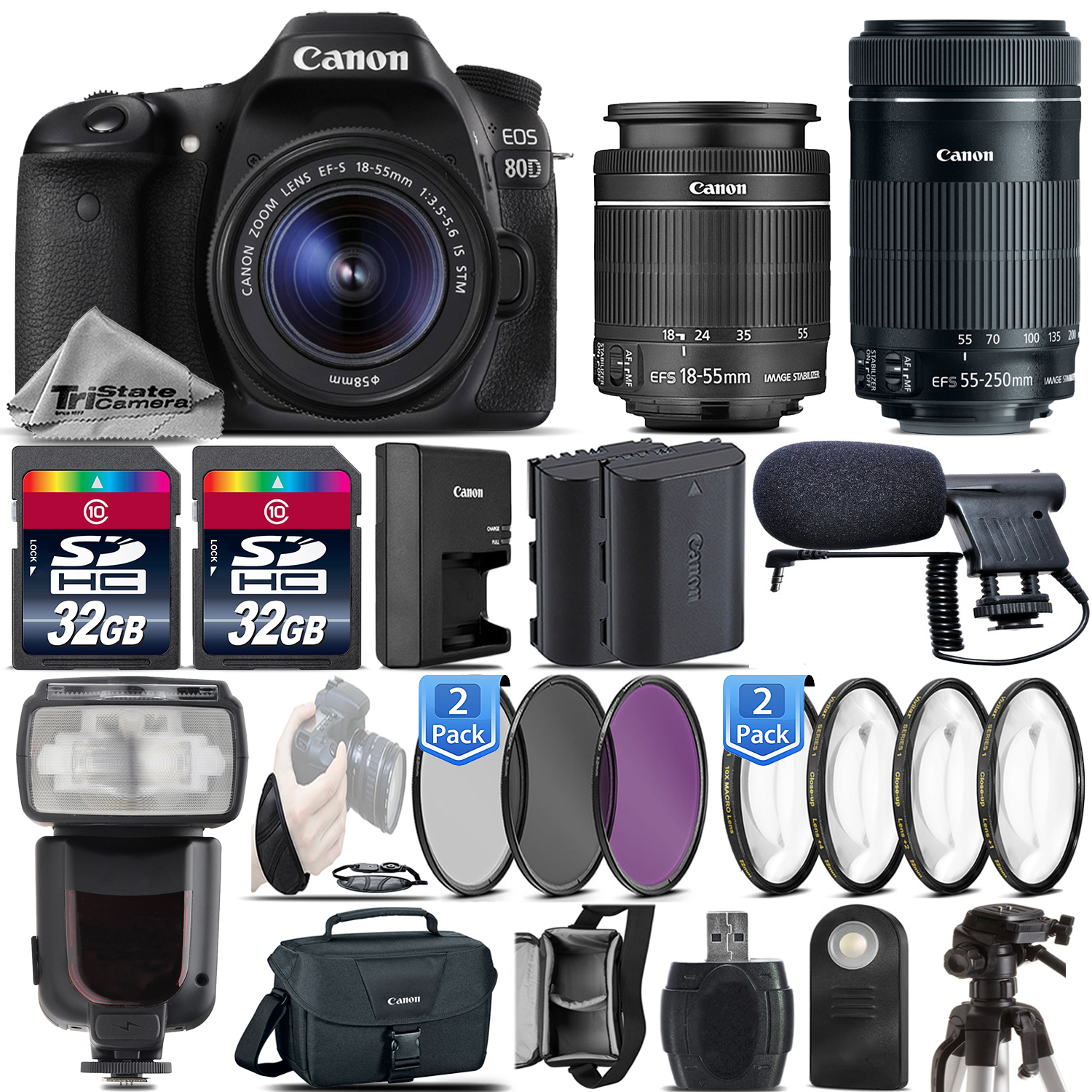 Canon 80D DSLR WiFi NFC 1080p DIGIC 6 Camera + 18-55mm IS STM + 55-250mm IS STM *FREE SHIPPING*