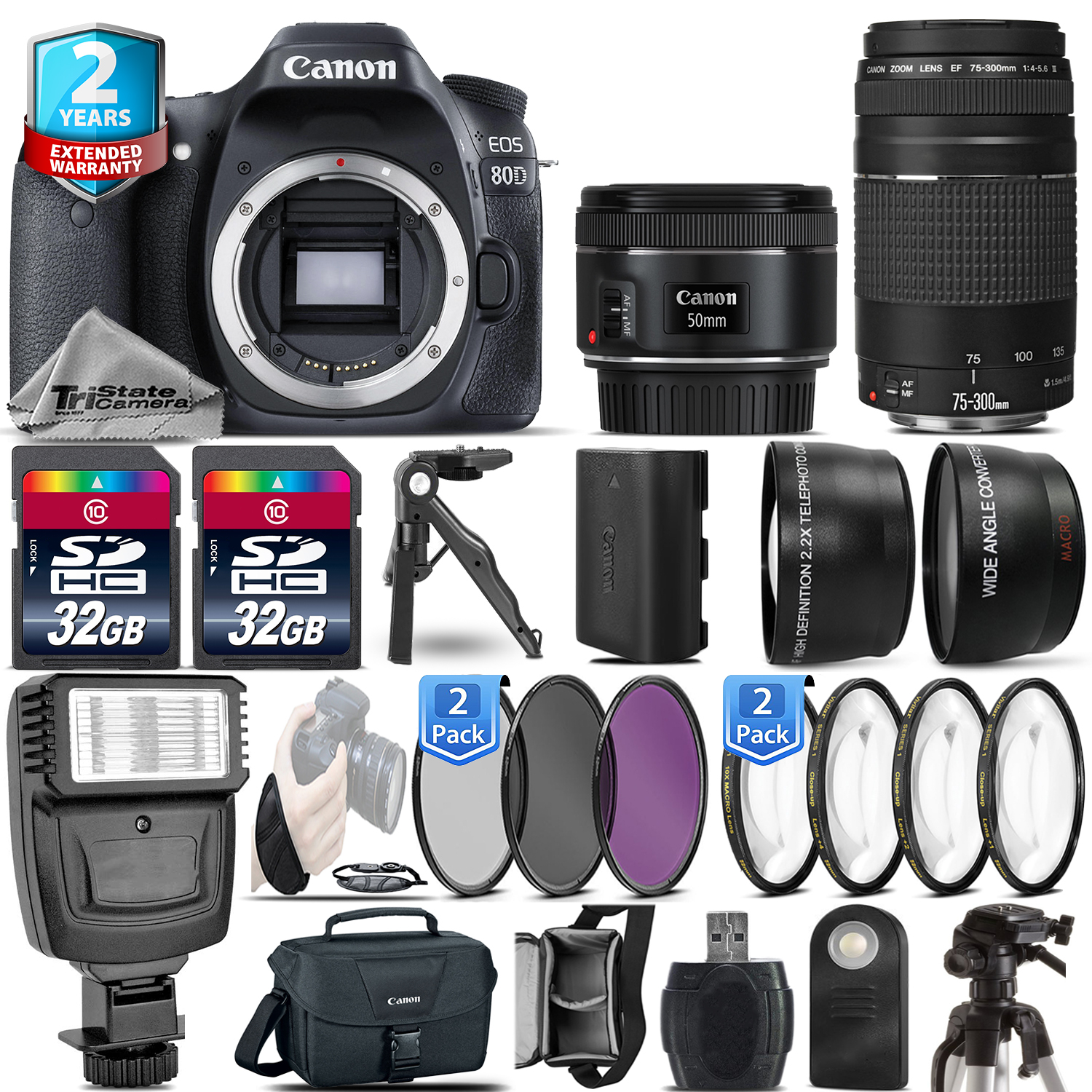 EOS 80D DSLR Camera + 50mm 1.8 STM + 75-300 III + 2yr Warranty - 64GB Kit *FREE SHIPPING*