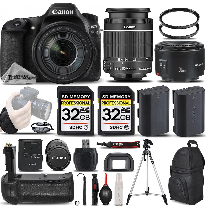 EOS 80D DSLR Camera with 18-55mm STM Lens + 50mm 1.8 +BATT GRIP + 64GB *FREE SHIPPING*