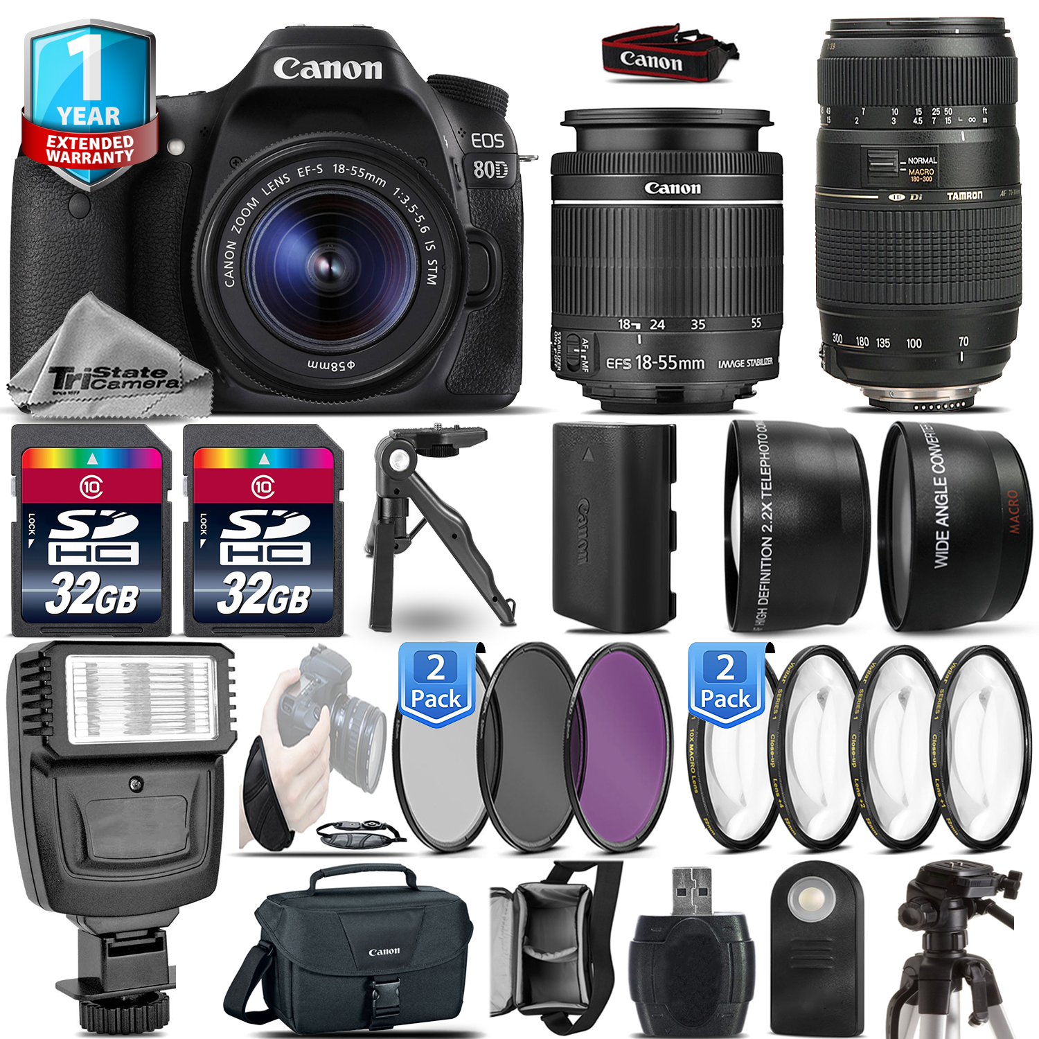 EOS 80D DSLR Camera + 18-55mm IS STM + 70-300mm + 1yr Warranty - 64GB Kit *FREE SHIPPING*