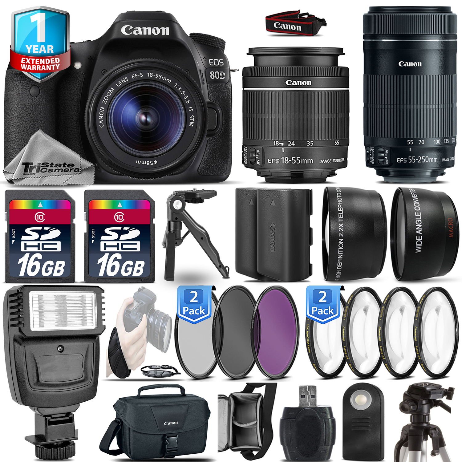 EOS 80D DSLR Camera + 18-55mm IS + 55-200mm IS + EXT BAT + 1yr Warranty *FREE SHIPPING*