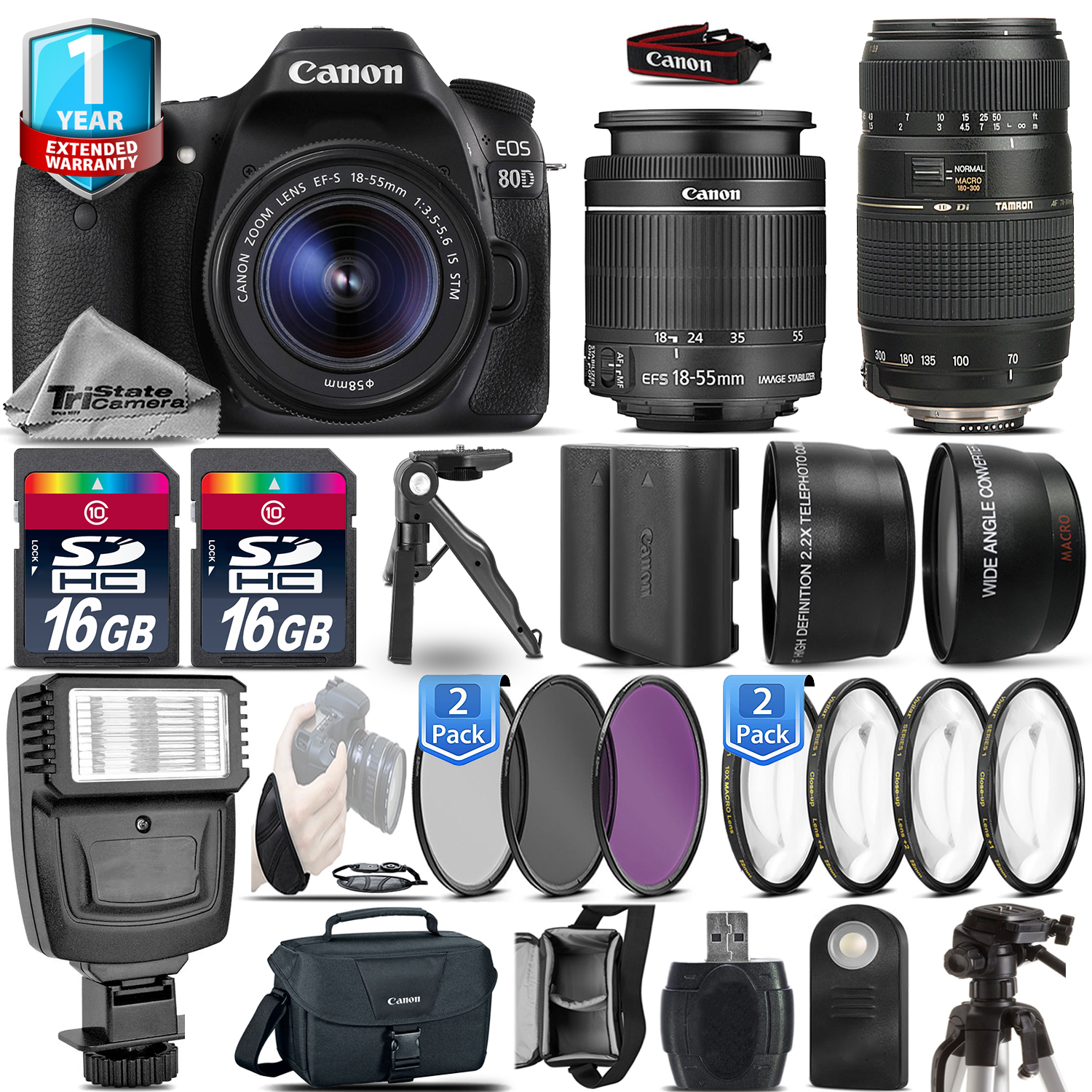 EOS 80D DSLR Camera + 18-55mm IS + 70-300mm + Extra Battery + 1yr Warranty *FREE SHIPPING*