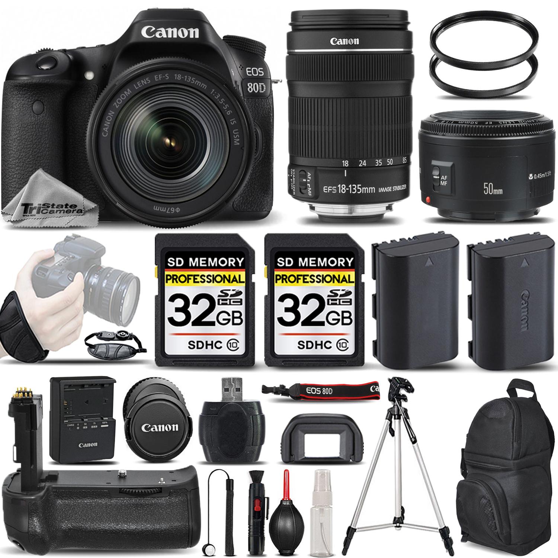 EOS 80D DSLR Camera with 18-135mm IS STM Lens + 50mm 1.8 +BATT GRIP +64GB *FREE SHIPPING*