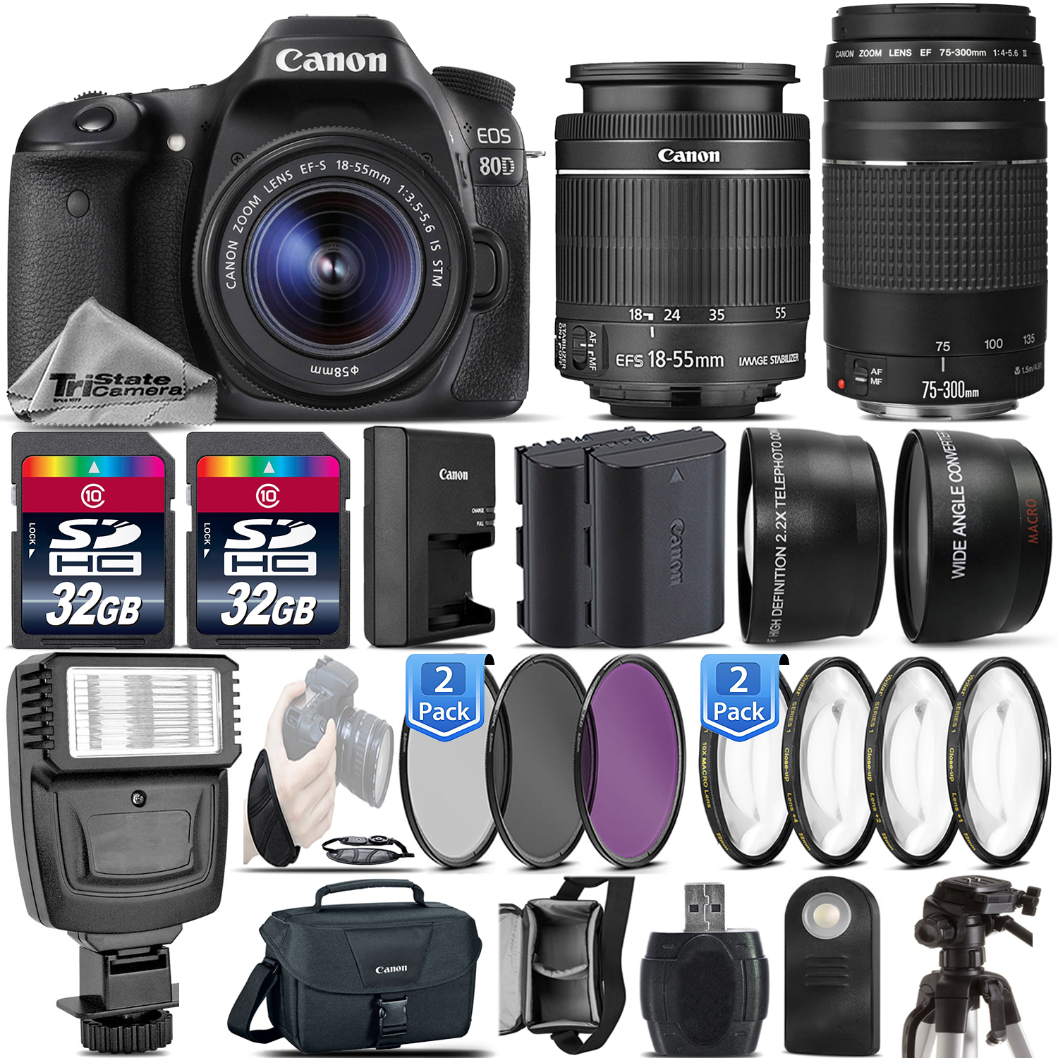 EOS Rebel 80D DSLR Camera + 18-55mm IS STM + 75-300 III - 64GB Kit Bundle *FREE SHIPPING*