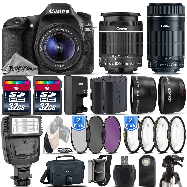EOS 80D DSLR Camera + 18-55mm IS STM + 55-250mm STM Lens - 64GB Kit Bundle *FREE SHIPPING*