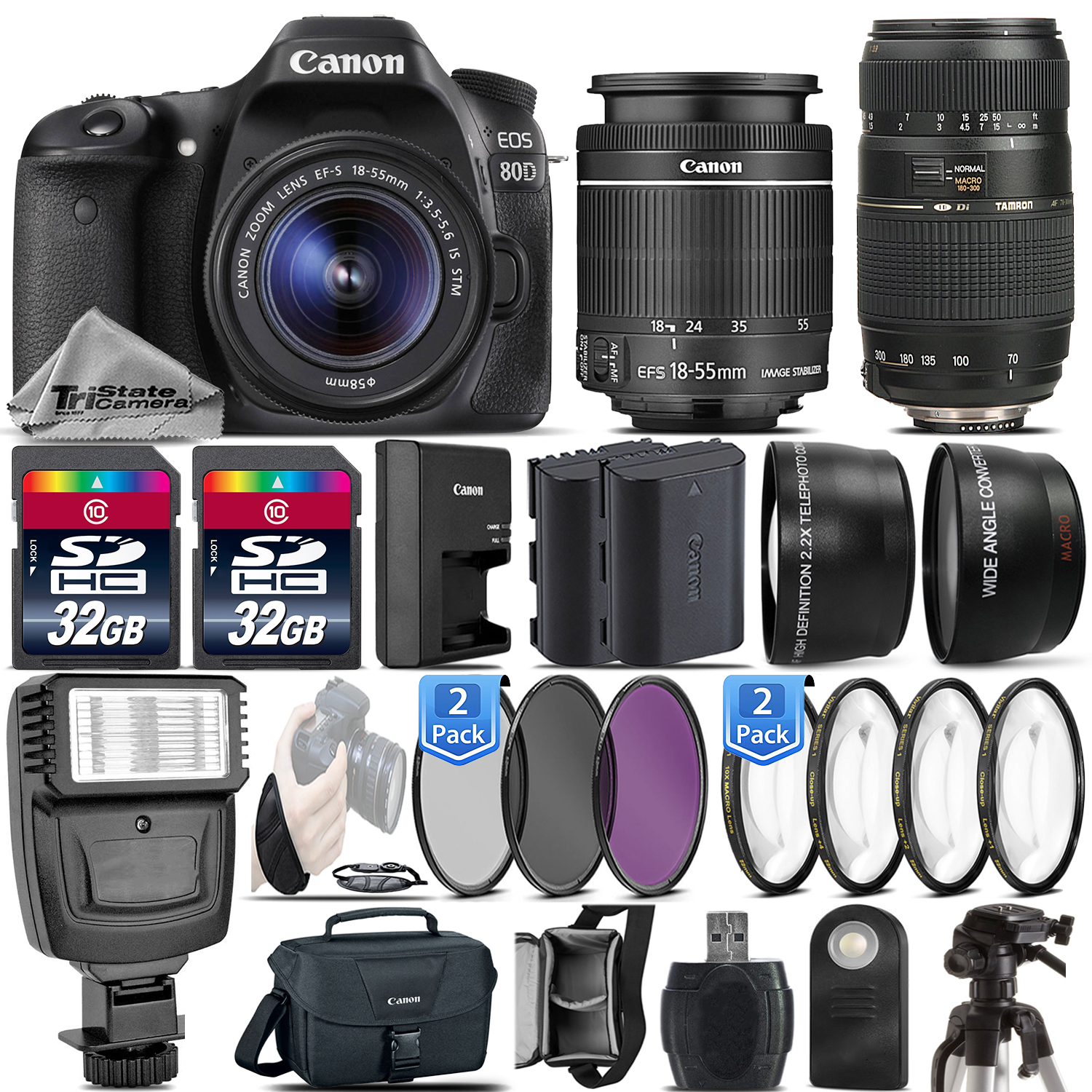 EOS 80D DSLR Camera + 18-55mm IS STM + 70-300mm + Flash - 64GB Kit Bundle *FREE SHIPPING*
