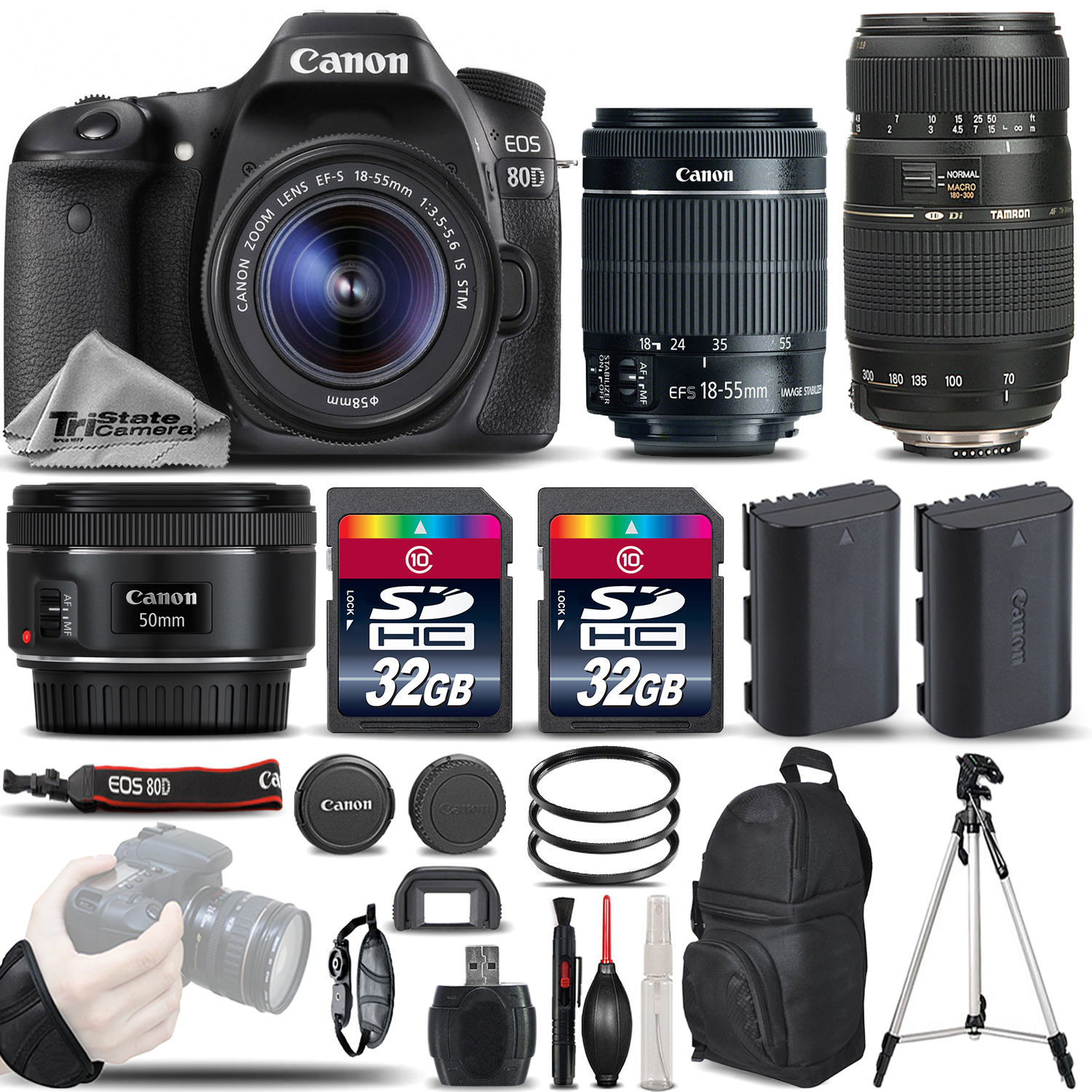 EOS 80D DSLR Camera with 18-55mm Lens +50mm 1.8 + 70-300mm - 64GB BUNDLE *FREE SHIPPING*