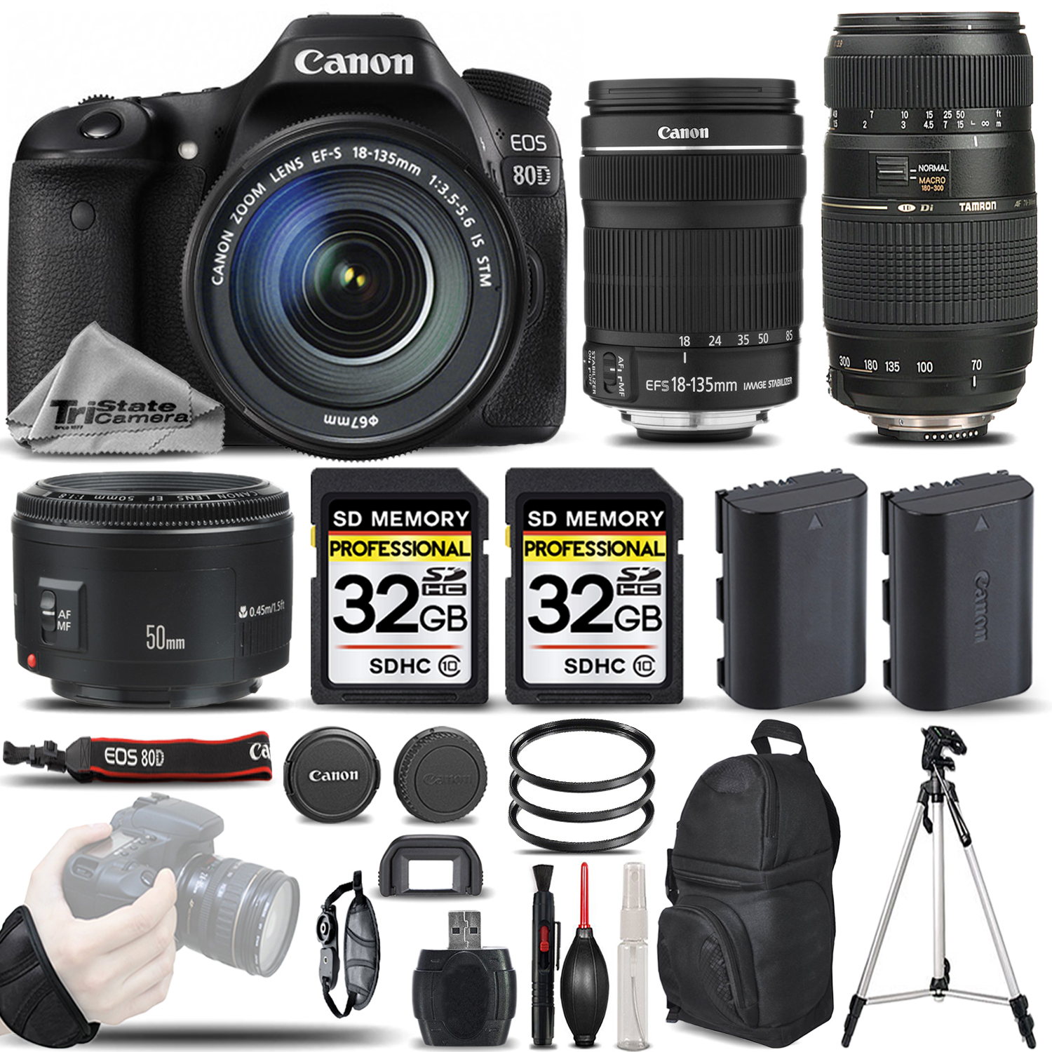 EOS 80D DSLR Camera with 18-135mm Lens +50mm 1.8 + 70-300mm - 64GB BUNDLE *FREE SHIPPING*