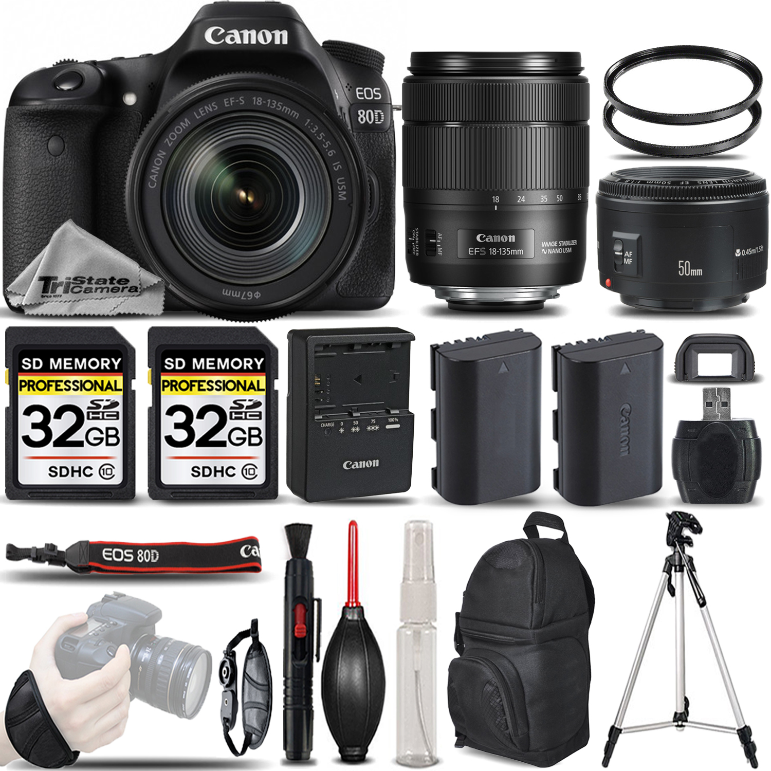 EOS 80D DSLR Camera + 18-135mm IS USM + 50mm 1.8 LENS + EXT BATT -64GB KIT *FREE SHIPPING*