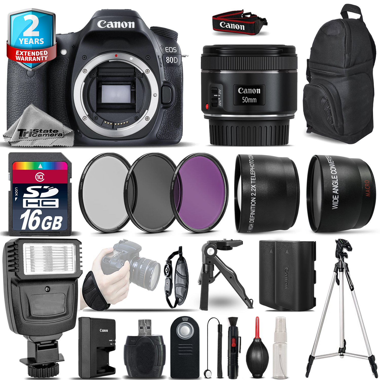 EOS 80D DSLR Camera + 50mm 1.8 STM  + 2yr Warranty -Ultimate Saving Bundle *FREE SHIPPING*