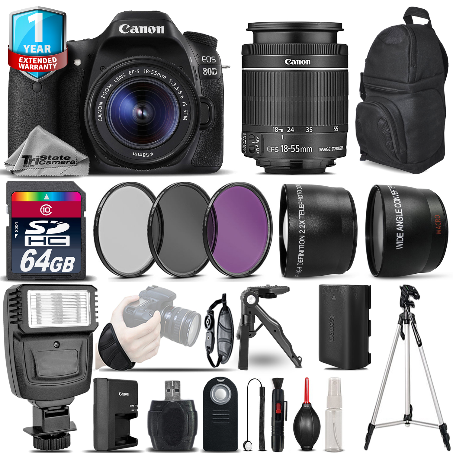 EOS 80D DSLR Camera + 18-55mm IS + 1yr Warranty + Filters - Saving Bundle *FREE SHIPPING*