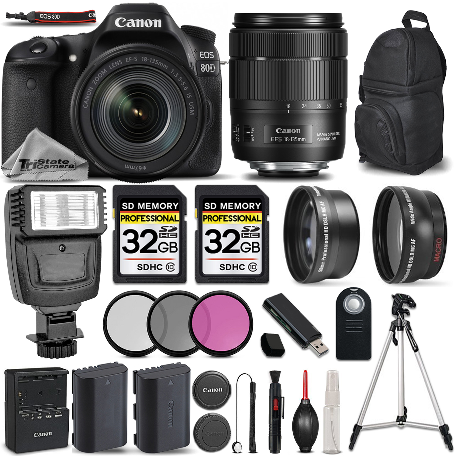 EOS 80D DSLR Camera + 18-135mm IS USM + FLASH + UV, CPL, FLD FILTER +64GB *FREE SHIPPING*