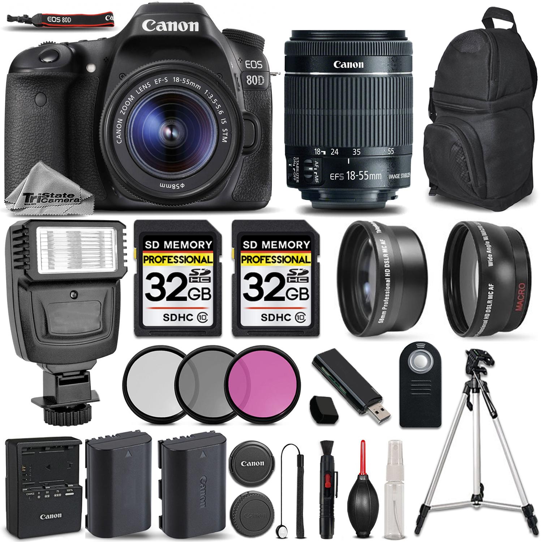 EOS 80D DSLR Camera + 18-55mm IS STM + FLASH + UV, CPL, FLD FILTER +64GB *FREE SHIPPING*