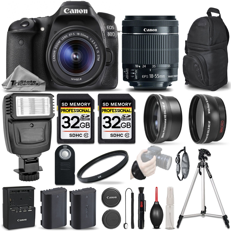 EOS 80D DSLR Camera + 18-55mm IS STM - 3 LENS KIT + FLASH - 64GB BUNDLE *FREE SHIPPING*