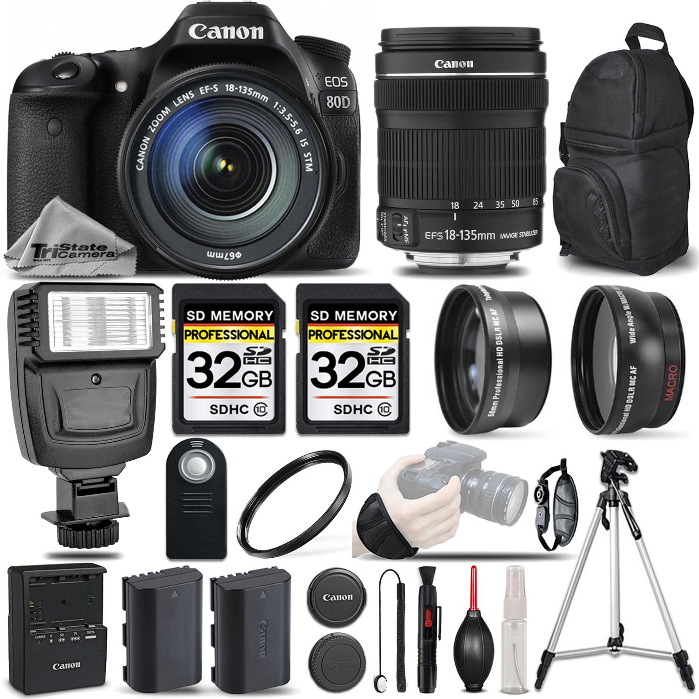 EOS 80D DSLR Camera + 18-135mm IS USM - 3 LENS KIT + FLASH - 64GB BUNDLE *FREE SHIPPING*