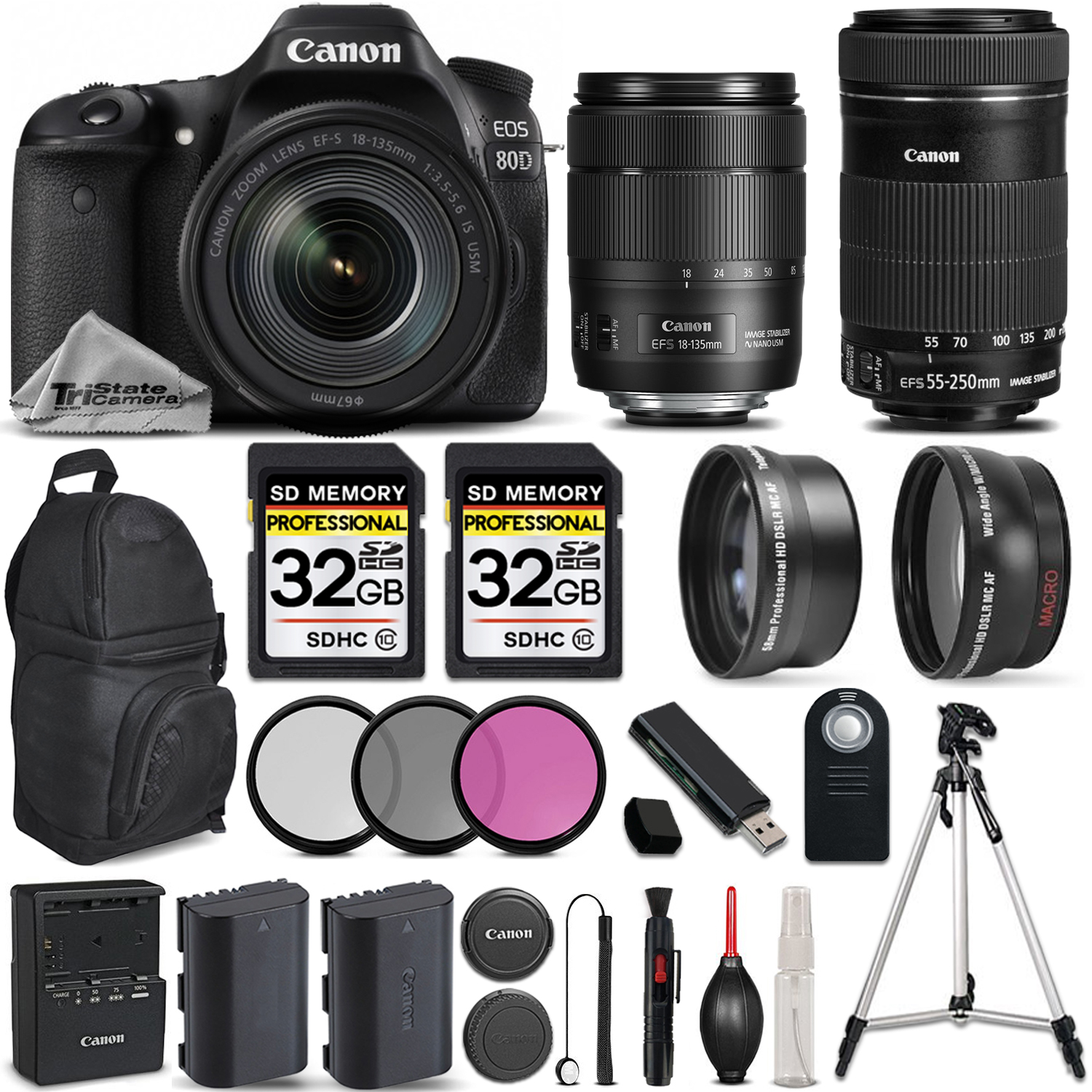 EOS 80D DSLR Camera + 18-135mm IS USM Lens + Canon 55-250 IS STM - PRO KIT *FREE SHIPPING*